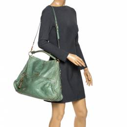 Miu Miu Green Leather Lily Distressed Shoulder Bag 272499