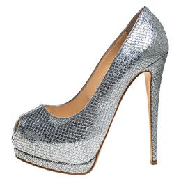 Giuseppe Zanotti Design Silver Glitter Fabric Peep Toe Platform Pumps Size 39.5 272216
