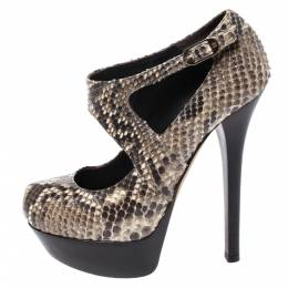 Fendi Multicolor Python Embossed Leather T-Strap Platform Sandals Size 37.5 272731