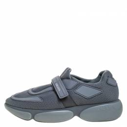 Prada Grey Mesh And Leather Velcro Strap Sneakers Size 37 272207