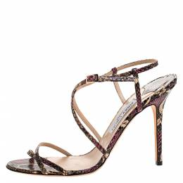 Jimmy Choo Multicolor Python Issey Criss Cross Sandals Size 42 272270