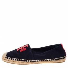 Tory Burch Navy Blue/Red Canvas Weston Espadrilles Flats Size 37.5
