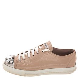 Miu Miu Beige Patent Leather Crystal Embellished Cap Toe Sneakers Size 37.5 272524