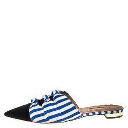 Aquazzura Multicolor Canvas And Grosgrain Mondaine Flat Mules Size 39 272534