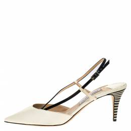 Jimmy Choo Off White/Black Leather Pointed Toe Ankle Strap Sandals Size 42 272291