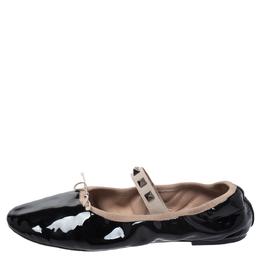 Valentino Black Patent Leather Rockstud Ballet Flats Size 39 272294