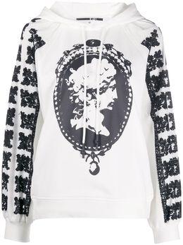 MCQ by Alexander McQueen cameo print textured sleeve hoodie 588587ROC13