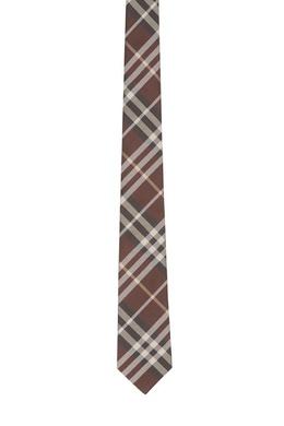 Коричневый галстук в клетку Burberry 10188439