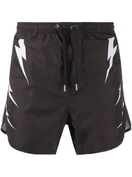 Neil Barrett плавки-шорты с принтом PBCB122DN018S