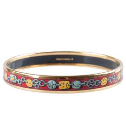 Hermes Multicolor Chain Print Enamel Gold Plated Narrow Bangle Bracelet 201638
