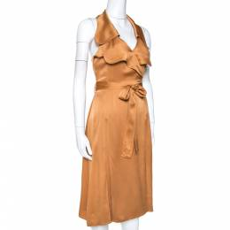 Burberry Bronze Silk Satin Ruffled Wrap Dress S 264239
