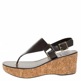 Tory Burch Brown Leather Cork Wedge Platform Thong Sandals Size 38 273013
