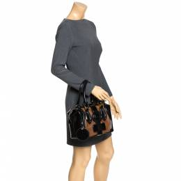 Balenciaga Black/Brown Patent Leather and Suede Sac Superb Bag 272196