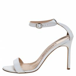 Manolo Blahnik White Leather Chaos Open Toe Ankle Strap Sandals Size 38 272775