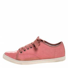 Lanvin Pink Python Effect Leather Lace Up Sneakers Size 38 272826