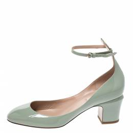 Valentino Green Patent Leather Tango Ankle Strap Pumps Size 39
