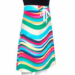 Red Valentino Multicolor Wave Print Stretch Cotton A Line Skirt L 272906