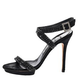 Gina Black Crystal Embellished Leather Opn Toe Cross Ankle Strap Sandals Size 38.5 271331