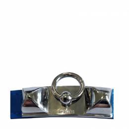 Hermes Rivale Double Tour Blue Leather Palladium Plated Bracelet 258279