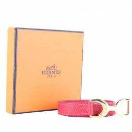 Hermes Double Tour Red Leather Gold Plated Bracelet 258310