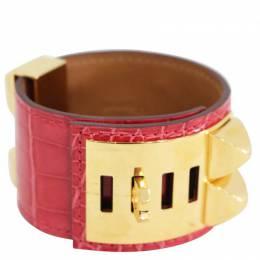 Hermes Collier De Chien Red Croc Leather Gold Plated Cuff Bracelet 257588