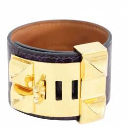 Hermes Collier De Chien Purple Croc Leather Gold Plated Cuff Bracelet 257587