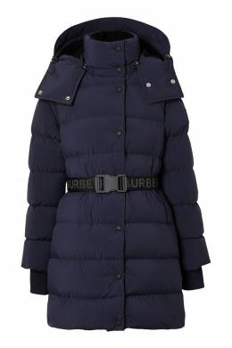 Синий пуховик со съемным капюшоном Burberry 10188397