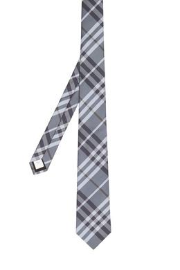 Серый галстук в клетку Burberry 10188824