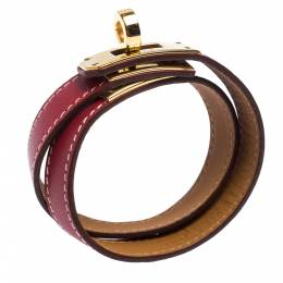 Hermes Kelly Double Tour Red Leather Gold Plated Wrap Bracelet 273163