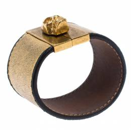 Alexander McQueen Gated Skull Gold Tone Leather Wide Bracelet 273154