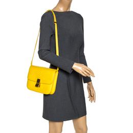 Celine Yellow Python Medium Classic Box Shoulder Bag 313722