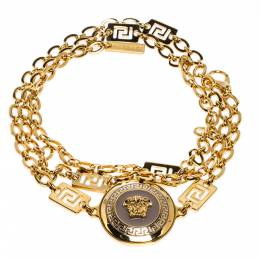 Versace Yellow Gold Tone Medusa Charm Chain Link Belt