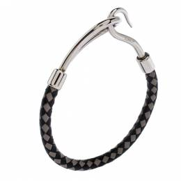 Hermes Bicolor Braided Leather Palladium Plated Jumbo Hook Bracelet 273031