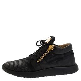 Giuseppe Zanotti Design Black Camo Nylon And Nubuck Mid Top Sneakers Size 42
