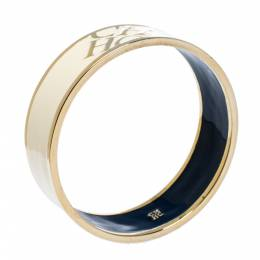 Ch Carolina Herrera Cream Enamel Gold Tone Bangle Bracelet