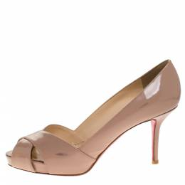 Christian Louboutin Beige Patent Leather Crossover Peep Toe Platform Pumps Size 38.5 273277