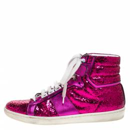 Saint Laurent Pink Glitter And Leather High Top Sneakers Size 40 272879