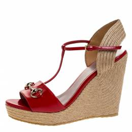 Gucci Red Leather Horsebit T-Strap Espadrille Wedge Sandals Size 40