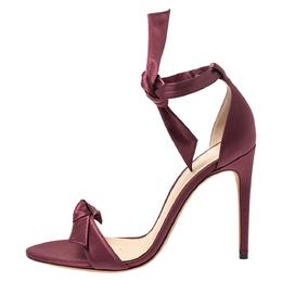 Alexandre Birman Burgundy Satin Clarita Bow Ankle Wrap Sandals Size 38.5 273128