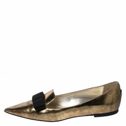 Jimmy Choo Metallic Gold Leather Gala Bow Ballet Flats Size 39 272986