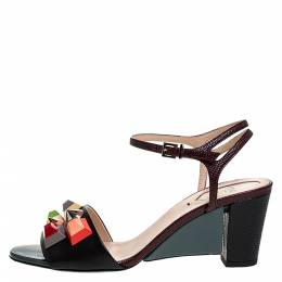 Fendi Multicolor Lizard Embossed And Leather Fantasia Studded Ankle Strap Sandals Size 37.5 273321