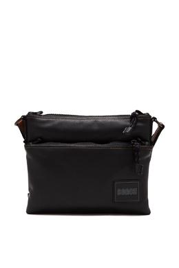 Черная кожаная сумка-мессенджер Pacer Coach 2219189183