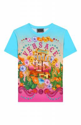 Хлопковая футболка Versace YC000249/A232865/8A-14A