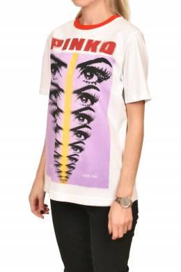 Белая футболка с принтом Pinko 2198189201