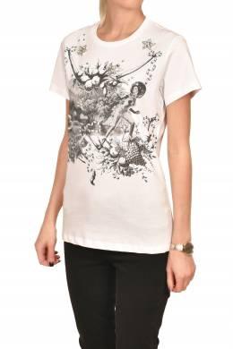 Белая футболка с черным рисунком Pinko 2198189208