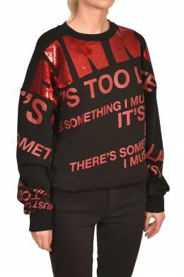 Черный свитшот с красными надписями Pinko 2198189209