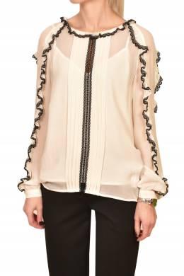 Блуза цвета экрю с кружевной отделкой Twin-Set 1506189220