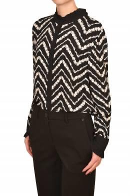 Черная блуза с белым узором Twin-Set 1506189219