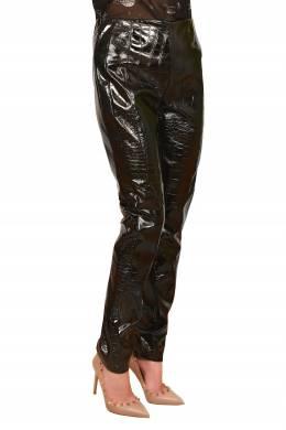 Черные брюки с фактурой кожи рептилии Pinko 2198189197