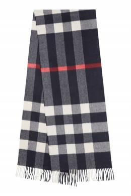 Классический шарф из кашемира синего цвета Burberry 10188568